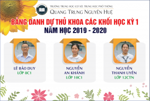 Bảng danh dự Thủ khoa các khối HK I năm học 2019 - 2020