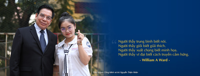 Thầy Huỳnh Công Minh và trò Nguyễn Thiện Nhân lớp 11A1